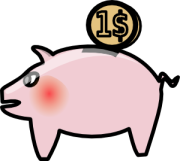 Picture of pink piggy bank with one dollar symbol