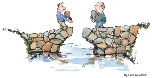 Two men carry rocks that will help them build a bridge together.