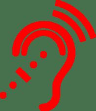 Red hearing symbol