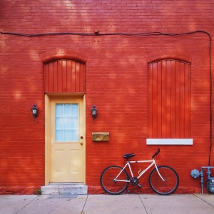 Red door on building