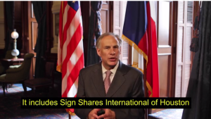 Governor Abbott speaks about Sign Shares.