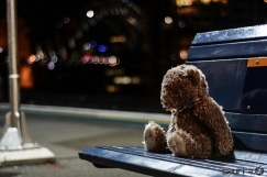 Teddy bear sitting alone at night on a bench with head bent low as if sad.