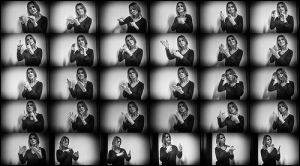 Many pictures in one of a woman showing sign language symbols with her hands.