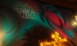 Star The Force Awakens Wars light display on side of a Disney building.