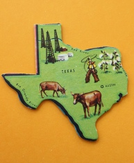 Map of Texas showing cows, cowboy, and oil field.