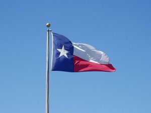 Texas state flag waves