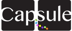 Capsule Group logo with black background and white word Capsule and confetti streaming from word.