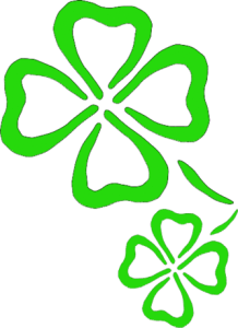 Outline of green four-leaf clovers.