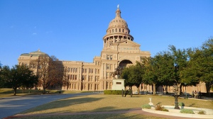 Texas Capitol view on a sunny day.