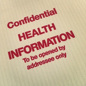 Stamped paper reads: confidential health information to be opened by addressee only