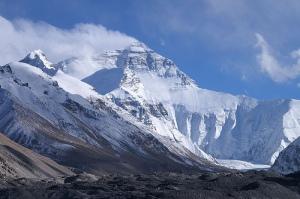 Snow atop the peak of Mount Everest.