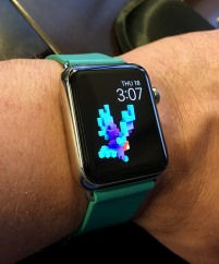 Picture of a smart watch on someone's hand.