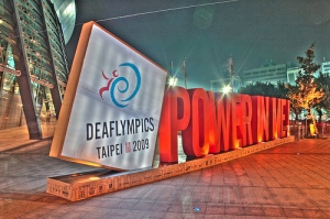 Deaflympics Tapei 2009 sign