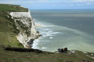 Giant white cliffs over the English Channel.