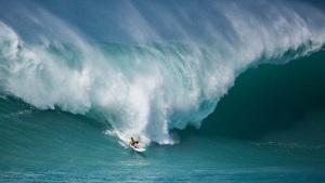 Surfer surfing a giant Hawaiian ocean wave.