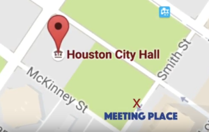 Map shows participants will meet at the intersection of McKinney St. and Smith St. at the Houston City Hall.