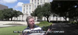 "Woman shows confused expression and captions read: ""The Deaf person is completely confused."""