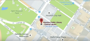 Shows map of Houston library and how it's close to Houston's City Hall.
