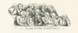 Cartoon of a jury from Revolutionary period.