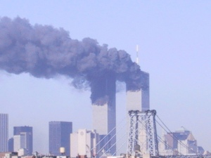 Picture of the Twin Towers skyscrapers smoking on 9/11.