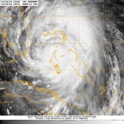 Hurricane over the ocean near Florida.