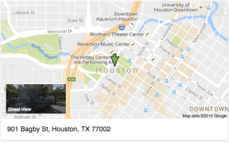Map showing location of City Hall at 901 Bagby Street, Houston, Texas 77002