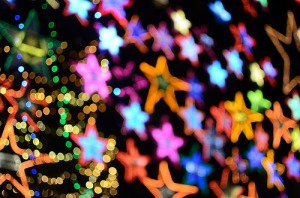 Blurry star Christmas lights.