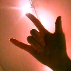 Person's hand showing the sign for I love you.