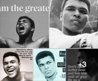 Collage of Muhammad Ali saying he's one of the greatest.
