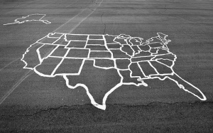 Map of the United States on asphalt