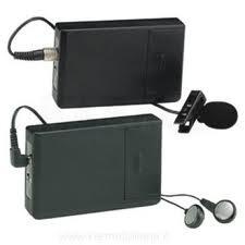 Picture of assistive listening devices, boxes that have small microphone
