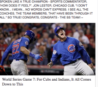 Chicago Cubs: Two players celebrate their championship.