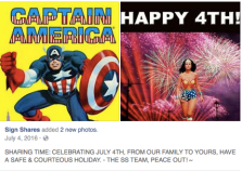 July 4th with Captain America and Wonder Woman pictures.
