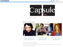Screen Capture of the Capsule website with black and white logo and pictures of Eva Storey, Anthony Butkovich, and Christina Goebel.