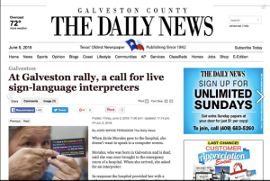 "Galveston County Daily News reads, ""At Galveston rally, a call for live language interpreters"""