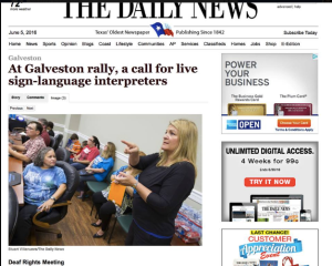 "Galveston County Daily News, says, ""At Galveston rally, a call for live language interpreters and shows an interpreter and people who are Deaf watching her."
