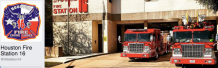 Ladder 16 of the Houston Fire Department insignia and two big red firetrucks.