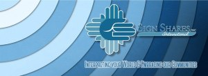 Sign Shares Logo of hands and slogan, Interpreting Your World