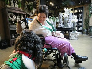 Woman in wheelchair interacts with a dog.