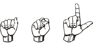 Hands using sign language spell A, S, L.