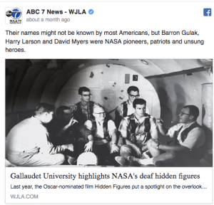 Picture of men sitting on an airplane and ABC post saying they are just now getting attention for their contributions.