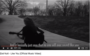 Woman plays guitar with captions And it basically just says that no one else will sound like you.