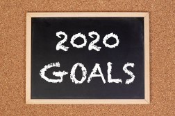2020 goals on chalkboard