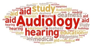 A word map with words such as audiology, hearing, study, aid, deafness, education, medical.